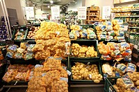Potato products, produce department, self-service, food department, supermarket, Germany, Europe