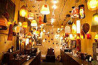 Large group of lighting fixtures on display in store
