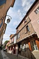 Typical street, Mirepoix, medieval town in Ariège, Midi-Pyrénées, France, Europe