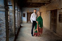 Portrait of a mixed race couple her wearing a sari, ludhiana punjab india