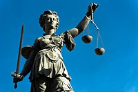 Lady Justice at the Roemerberg, Frankfurt, Germany
