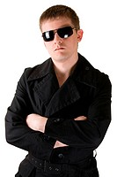man in black coat with sunglasses