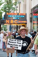 Anti-war groups protest in front of NBC in Rockefeller Center in New York against the new reality television program ´Stars Earn Stripes´ The proteste...