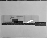 View of a rendering of a Theatre showing cross_section with rising tiers of seats and overhanging sound hood.