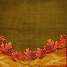 Old grunge card on the abstract background with autumn leaves.