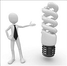 3d man with lightbulb