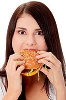 Woman eating hamburger
