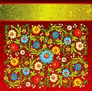 abstract floral ornament with color flowers
