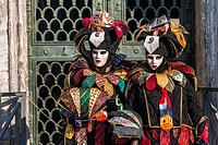 A masked couple at the carnival in Venice, Italy, Europe