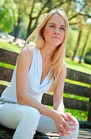 Pensive mood _ woman on bench