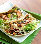 two soft shell chicken tacos