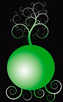 tree over the green sphere
