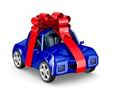 car in gift packing. Isolated 3D image