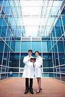Doctors standing in a modern building