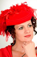 woman is in red hat