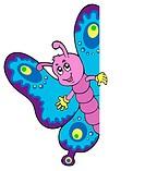 Lurking cartoon butterfly