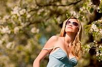 Spring _ woman blossom tree park nature smell