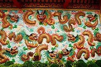 chinese dragon at the wall of temple, Thailand