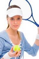 Tennis player _ young woman holding racket