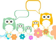 owl family with flowers and speech bubbles
