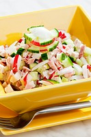 chicken salad with radishes and cucumber