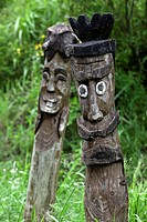 These totem poles are found in rural farming villages in Korea to help keep away bad spirits