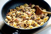 pasta orecchiette with bacon and champignons