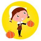 Cute Thanksgiving / Pilgrim Girl with pumpkin head