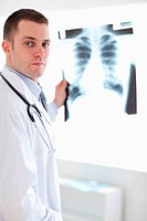 Doctor showing x_ray to patient
