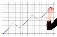 businesswoman drawing a graph