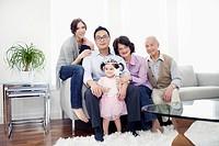 Portrait of three generation family