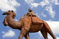 Camel rider statue in the Registan, Samarkand, Uzbekistan
