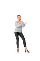 Young woman training rumba dance