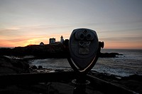 Cape Neddick Nubble Light at sunrise during the spring months. Located in York, Maine USA, which is on the New England seacoast. Notes: This lighthous...