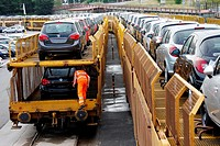 Car Transport by rail, transportation of cars and light commercial vehicles, Pasajes Port, Gipuzkoa, Basque Country, Spain