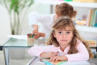 Two Young girls in class