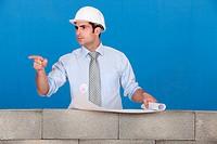 real estate businessman pointing at something