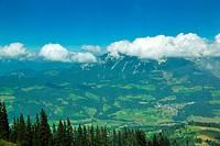 Panoramic view on Austrian Tirol Alps at beautiful sunny summer day
