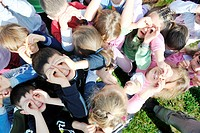 happy child kids group have fun and play at kindergarden outdoor preschool education concept with teacher