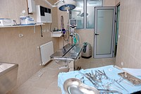 animal and pet surgery hospital room indoor with tools and instruments