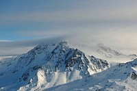 mountain snow fresh sunset at ski resort in france val thorens
