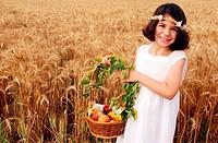 An Israeli Girl celebrates Shavuot in a Kibbutz in Israel on the Jewish feast of Shavuot