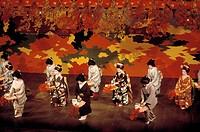 The POTOCHO ODORI MAIKO DANCERS preform at the PONTOCHO KOBERENJE THEATRE _ KYOTO, JAPAN