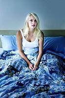 Sleepless woman at night