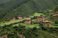 River valley with barley fields and traditional houses near Katok Monastery _ Kham E. Tibet, Sichuan Province, China