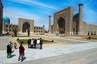 Uzbekistan, Samarkand, Unesco World Heritage, the Reghistan, Chir Dor Madrasah and Tilla Kari Madarsah