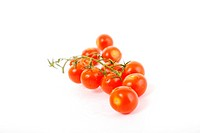 small wet fresh red tomato group isolated on white