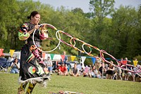 A Native American hoop dancer performs at the 8th Annual Red Wing PowWow in Red Wing Park, Virginia Beach, Virginia.