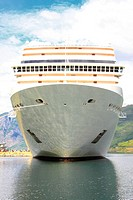 cruise ship in the port of Flaam, Aurlandsfjord Sognefjord