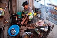 Life style in Mabul Island, preparing meal at home, Sabah, Malaysia, Borneo